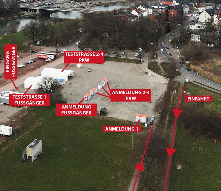 Karte Testzentrum Minden